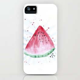 Watermelon summer watercolor illustration, food illustration, fruit iPhone Case