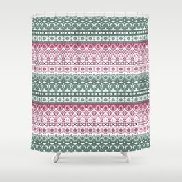 Green pink ornament Shower Curtain