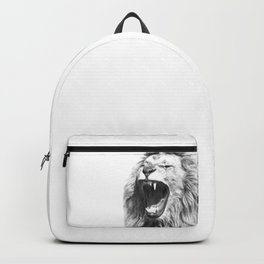 Black White Fierce Lion Backpack