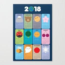 Happy Nature Kawaii 2018 Calendar Canvas Print