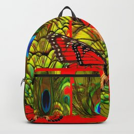 RED MONARCH BUTTERFLIES LIME COLOR PEACOCK ART Backpack