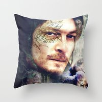 daryl dixon Throw Pillows featuring Daryl Dixon by András Récze