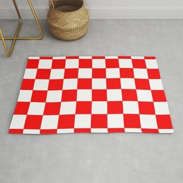 Damier 1 red and white Rug