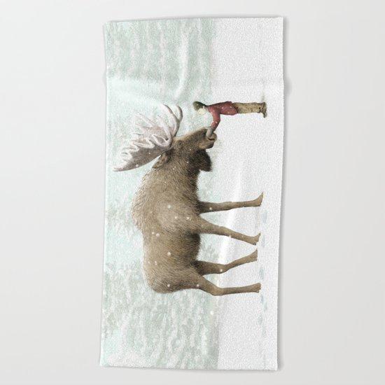 Winter Moose Beach Towel