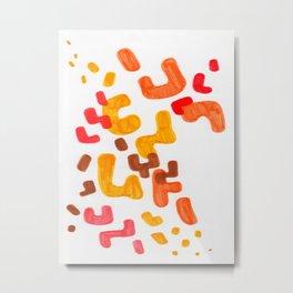 Minimalist Abstract Mid Century Modern Colorful Organic Patterns Red Orange Brown Metal Print