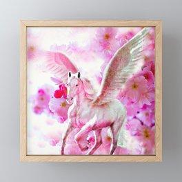 HORSE PINK FANTASY CHERRY BLOSSOMS Framed Mini Art Print