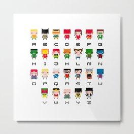 Superhero Alphabet Metal Print