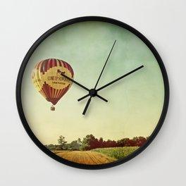 Hot Air Balloon Over Farmland Wall Clock