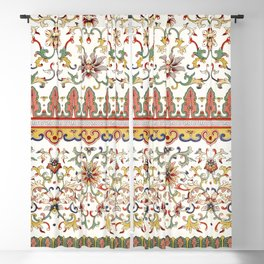 Asian Floral Pattern 6 in White Antique Blackout Curtain