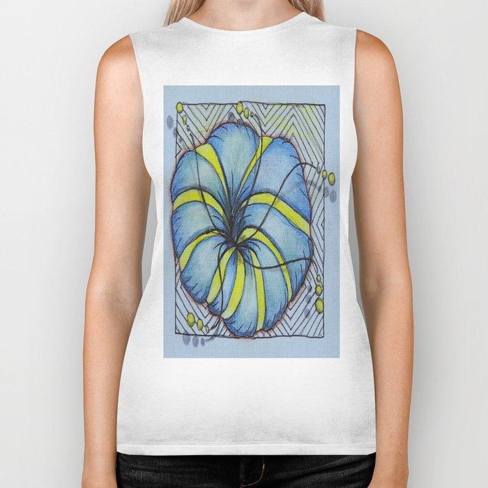 Blue and Yellow Zentangle Flower Biker Tank