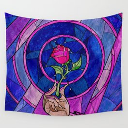 Enchanted Rose Stained Glass Wall Tapestry