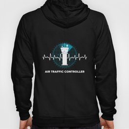 Air Traffic Controller Heartbeat ATC Flight Control graphic Hoody