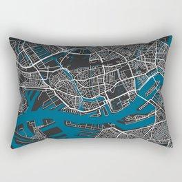Rotterdam city map black colour Rectangular Pillow
