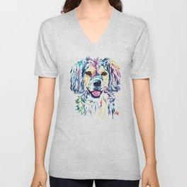 Colorful Shaggy Dog Pet Portrait Painting Unisex V-Neck