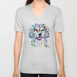 Colorful Shaggy Dog Pet Portrait Painting Unisex V-Neck