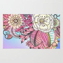 Hand painted pink teal lavender watercolor floral Rug