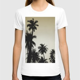Tropical palm trees on yellow T-shirt