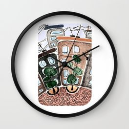 Houses. Boxes for life. Wall Clock