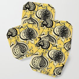 Black and Yellow Floral Coaster