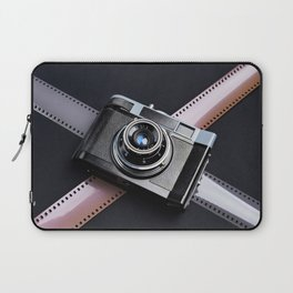 Vintage camera and films on black Laptop Sleeve