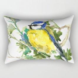 Blue Tit on Oak Tree Rectangular Pillow