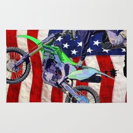 High Flying Freestyle Motocross Rider & US Flag Rug