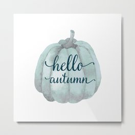 Hello autumn- blue pumpkin white background Metal Print