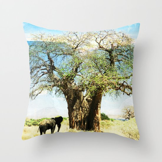 Finding an old friend - elephant in the wild Throw Pillow