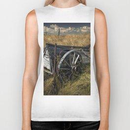 Old Broken Down Wooden Farm Wagon in the Grass Biker Tank