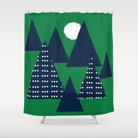 camping Shower Curtains featuring Camping by pegeo