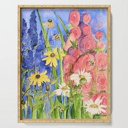 Cottage Garden Delphinium and Hollyhocks Watercolor Serving Tray