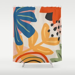Flower Market Madrid, Abstract Retro Floral Print Shower Curtain