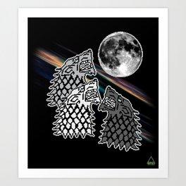 Three Dire Wolf Moon Art Print