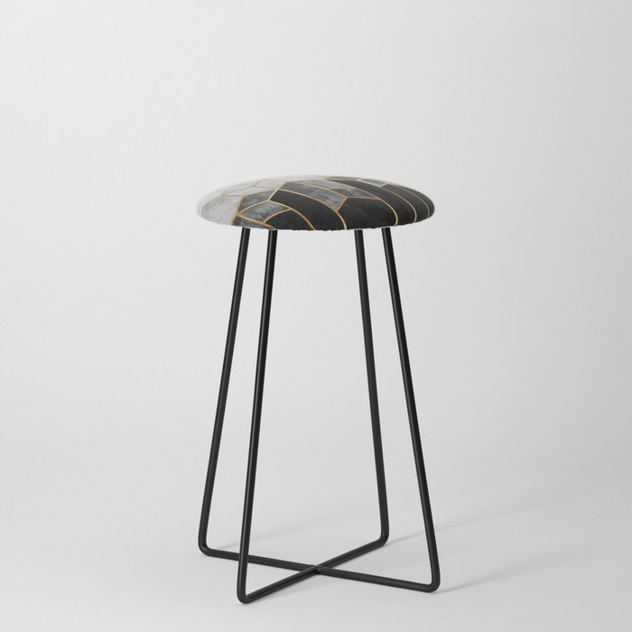 Charcoal Hexagons Counter Stool