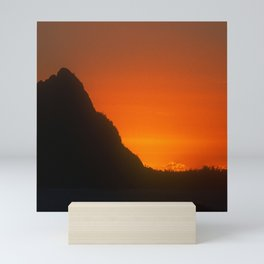 Tangerine Sunset Over Mountain Peak In Luxurious Silhouette  Mini Art Print