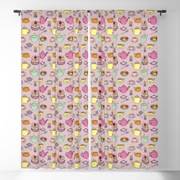 Time For Tea and Cake Illustrated Print Blackout Curtain