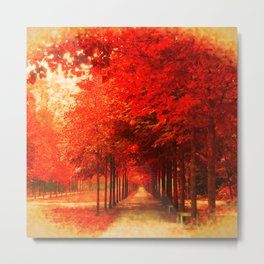Tree Alley Autumn painted Metal Print