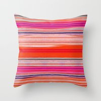 stripes Throw Pillows featuring stripes by spinL