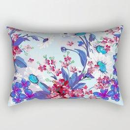 Cool blue floral garland texture Rectangular Pillow