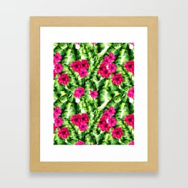 green banana palm leaves and pink flowers Framed Art Print