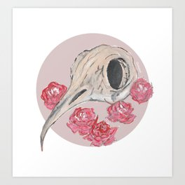 Bird Skull WaterColor Art Print