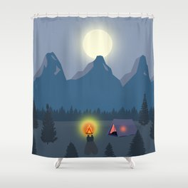 Bonfire camping in the mountains Shower Curtain
