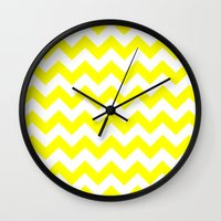 chevron Wall Clocks featuring Chevron (Yellow/White) by 10813 Apparel