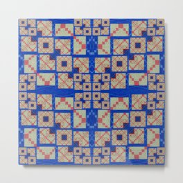 Retro Futuristic Modern Blue and Red Patchwork Geometry Metal Print