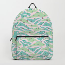 Pink green abstract landscape Backpack