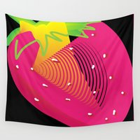 strawberry Wall Tapestries featuring Strawberry  by deedesigns