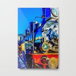 Cool Vintage Steam Locomotive. Black, Red Metal, An Oil Lamp Headlight Metal Print