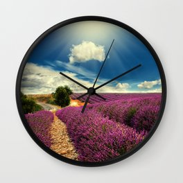 Beautiful image of lavender field Wall Clock