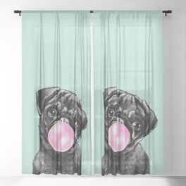 Bubble Gum Black Pug in Green Sheer Curtain