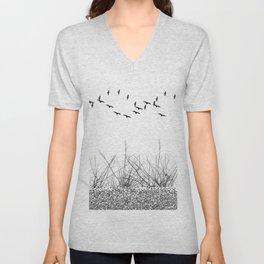 black and white winter landscape Unisex V-Neck